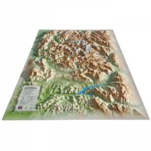 Carte en Relief du Massif des Ecrins