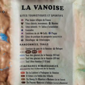 Légende de la carte en relief de la Vanoise