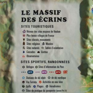 Légende de la carte en Relief du Massif des Ecrins
