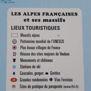 Légende de la carte en relief des Alpes Françaises et massifs alpins