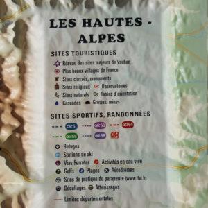 Légende de la carte en Relief des Hautes Alpes