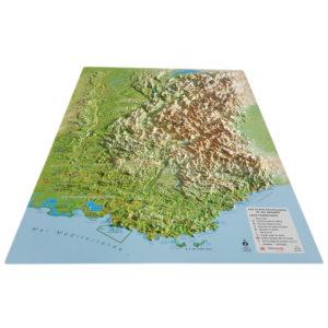 Carte en relief des Alpes Françaises et massifs alpins