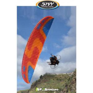 Voile de Paramoteur Orange et Bleue Flux de Sky paragliders