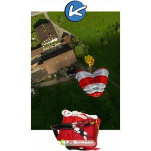 Parachute de secours rouge et blanc de la marque Kortel