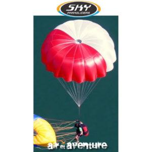 Parachute de secours biplace rouge et blanc
