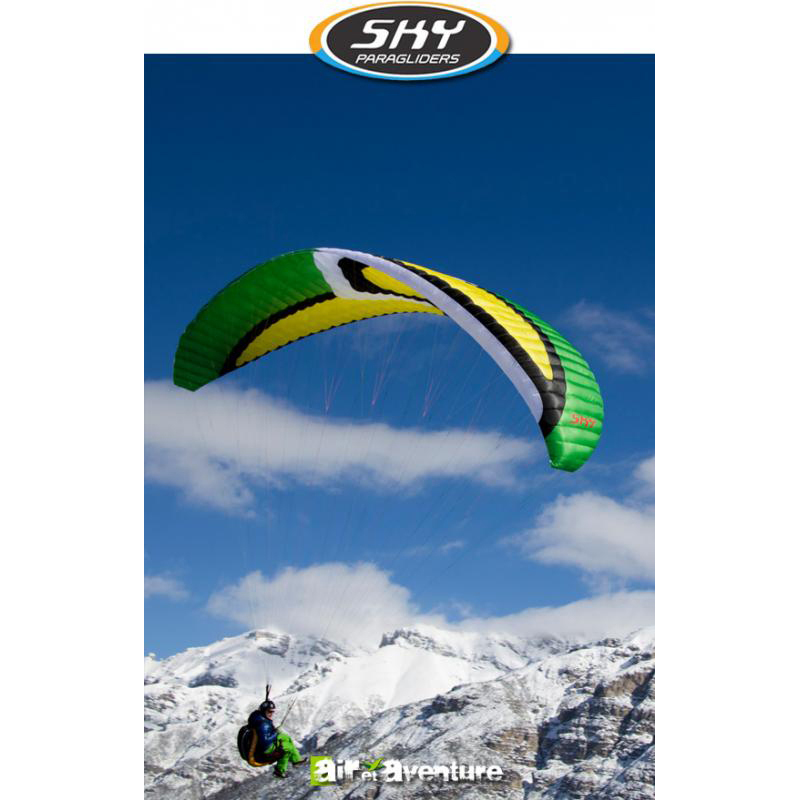 Voile de parapente Verte et Jaune Anakis 3 de Skyparagliders
