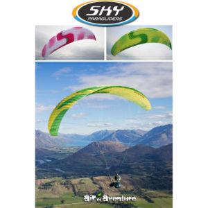 Voile de parapente Jaune et Verte Kudos par Skyparagliders