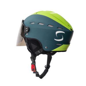 Vue arrière du casque de parapente à visière vert Supairvisor de la marque Supair