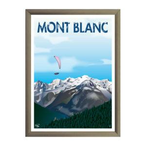Affiche de décoration parapente au Mont Blanc
