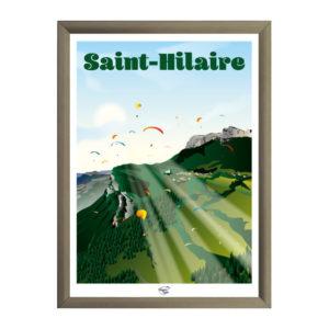 Affiche de décoration parapente à Saint Hilaire