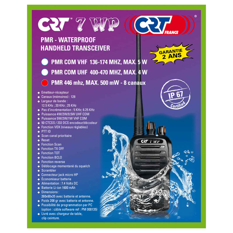 Boite de la radio Portative PMR 446 7 WP CRT